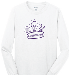 Long Sleeve Cotton t-shirt / White / Larkspur Academic Challenge - Fidgety