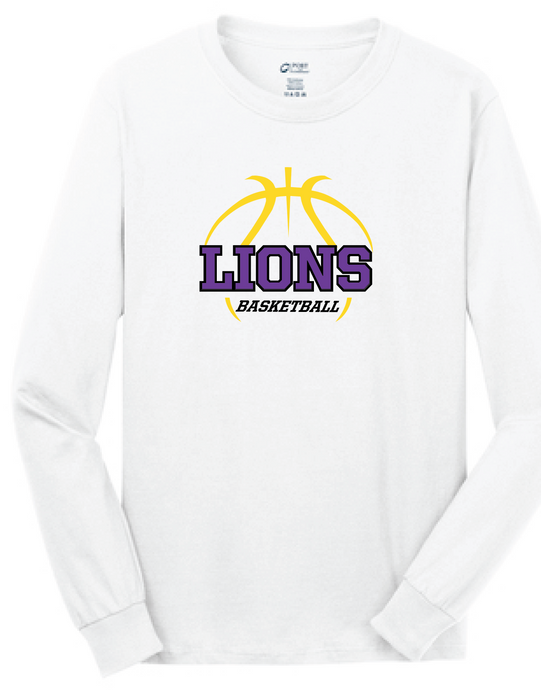 Long Sleeve Cotton T-Shirt / White / Larkspur Basketball - Fidgety