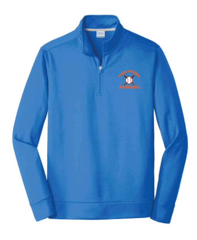 Plaza Trojans Baseball 1/4 Zip Performance Fleece - Royal - Fidgety