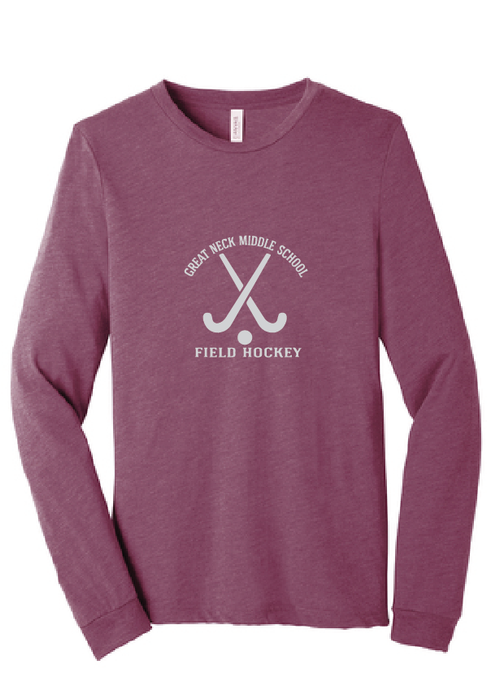 Tri-Blend Long Sleeve Tee / Maroon / Great Neck Field Hockey - Fidgety