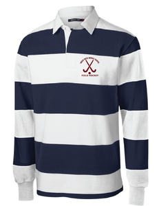 Long Sleeve Rugby Polo / Navy & White / Great Neck Field Hockey - Fidgety