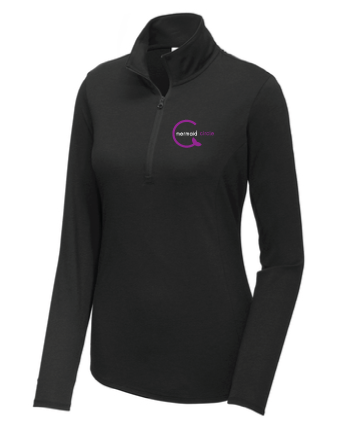 Ladies Tri-Blend Wicking 1/4-Zip Pullover / Black Triblend / Mermaids - Fidgety