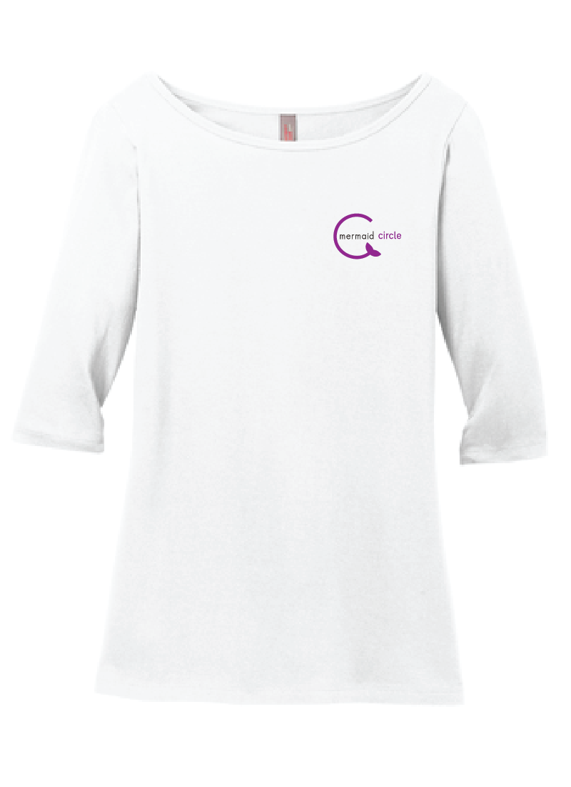 Women's Light 3/4-Sleeve Tee / White / Mermaids