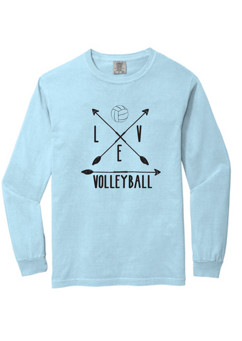 Arrow Volleyball Heavyweight Ring Spun Long Sleeve Tee / Chambray / Fidgety