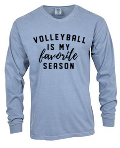 Favorite Volleyball Heavyweight Ring Spun Long Sleeve Tee / Washed Denim / Fidgety