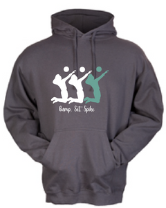 Volleyball Set Fleece Hoody / Charcoal / Volleyball - Fidgety