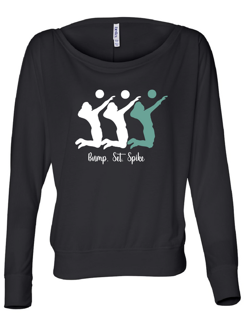 Volleyball Set Flowy Long Sleeve Off Shoulder Tee / Black / Volleyball - Fidgety