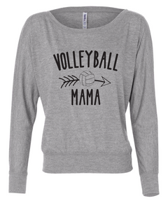 Volleyball Mom Flowy Long Sleeve Off Shoulder Tee / Heather Gray / Fidgety - Fidgety