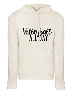 Jersey Fleece Hooded Sweatshirt / Natural / Volleyball - Fidgety