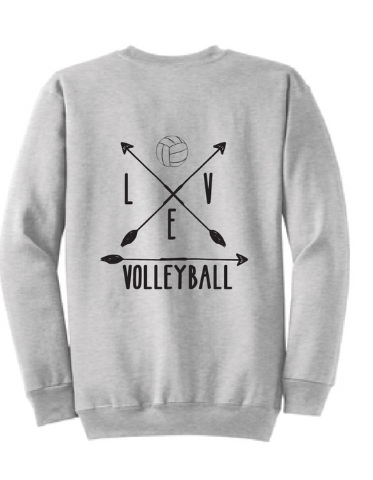 Volleyball Arrrow Crewneck / Ash / Volleyball - Fidgety