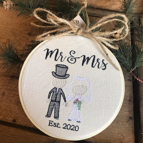 Mr. & Mrs. Embroidered Ornament