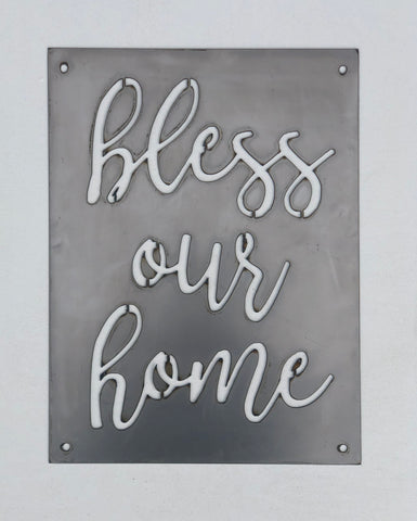 """Bless Our Home"" Metal Sign"