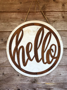 Metal Hello Door Hanger