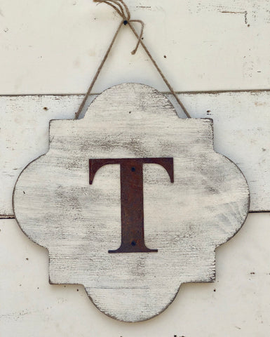 Quatrefoil Door Hanger with Metal Letter