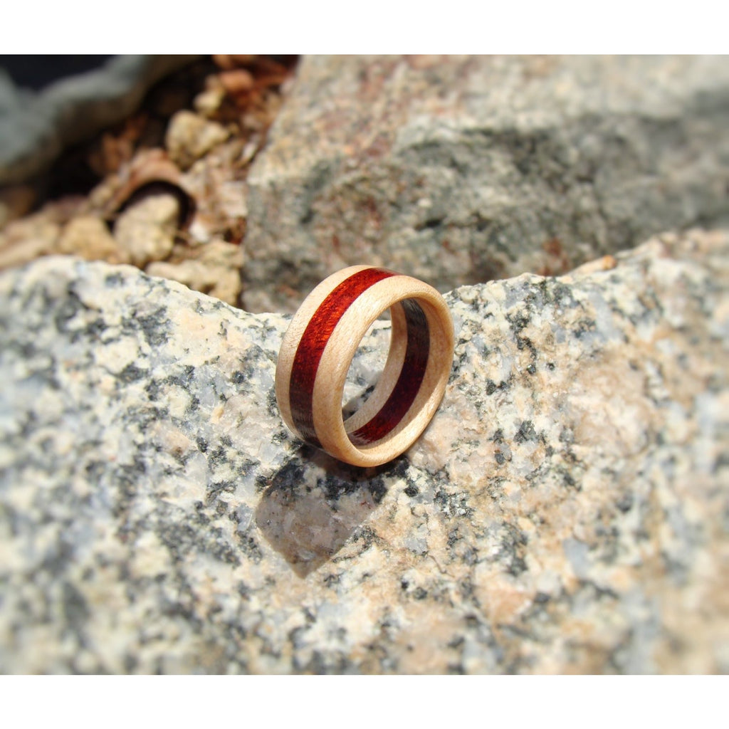 Maple and Bloodwood Layered Wood Ring - Art and Soule