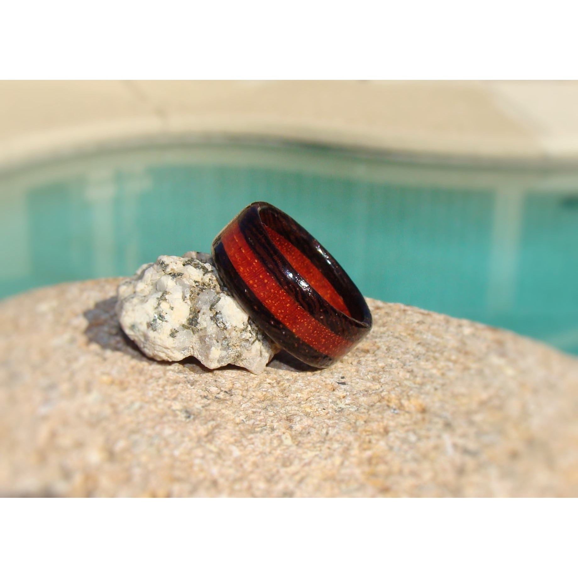 Wenge and Bloodwood Layered Wood Ring - Art and Soule