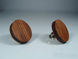 Bubinga Wood Earrings - Stud or Dangle - Multiple Sizes - Art and Soule