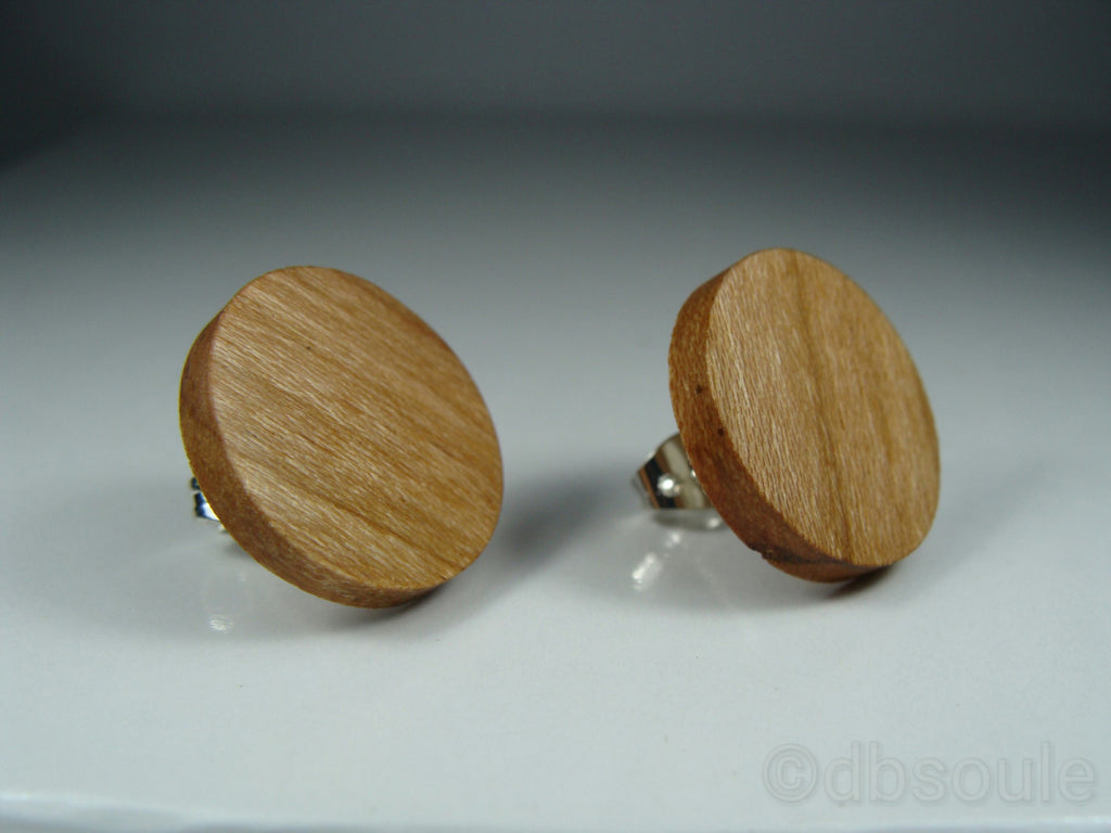 Cherry Wood Earrings - Stud or Dangle - Multiple Sizes - Art and Soule
