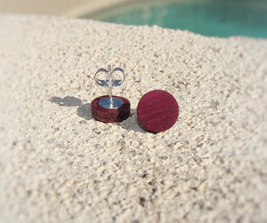 Purpleheart Wood Earrings - Stud or Dangle - Multiple Sizes - Art and Soule