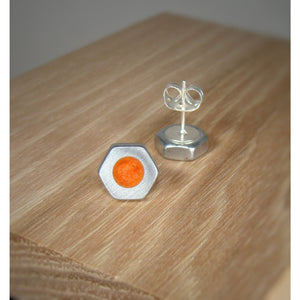 Coral Orange Pearl Hex Nut Stud Earrings - Acrylic Inlay - Art and Soule