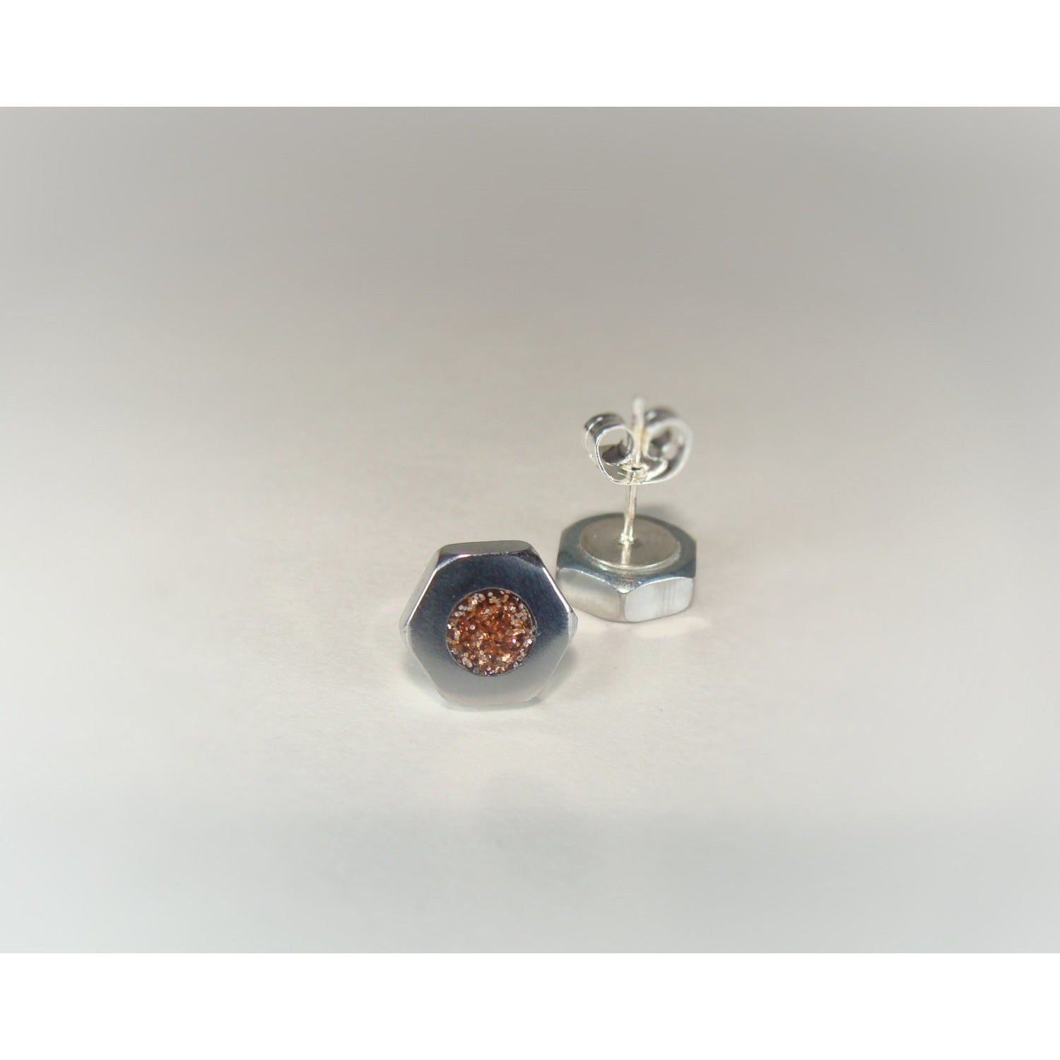 Copper Metallic Hex Nut Stud Earrings - Acrylic Inlay - Art and Soule