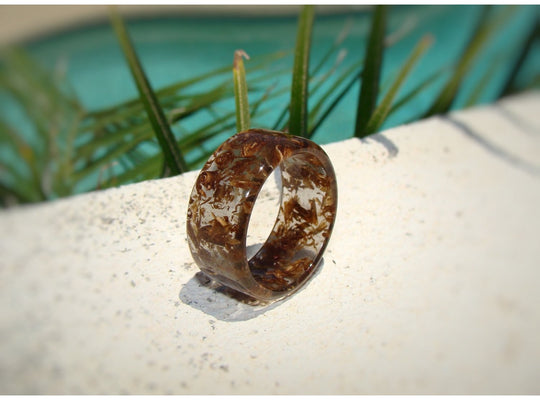 Charred Jack Daniels Tennessee Whiskey Barrel Wood & Clear Resin Ring - Art and Soule