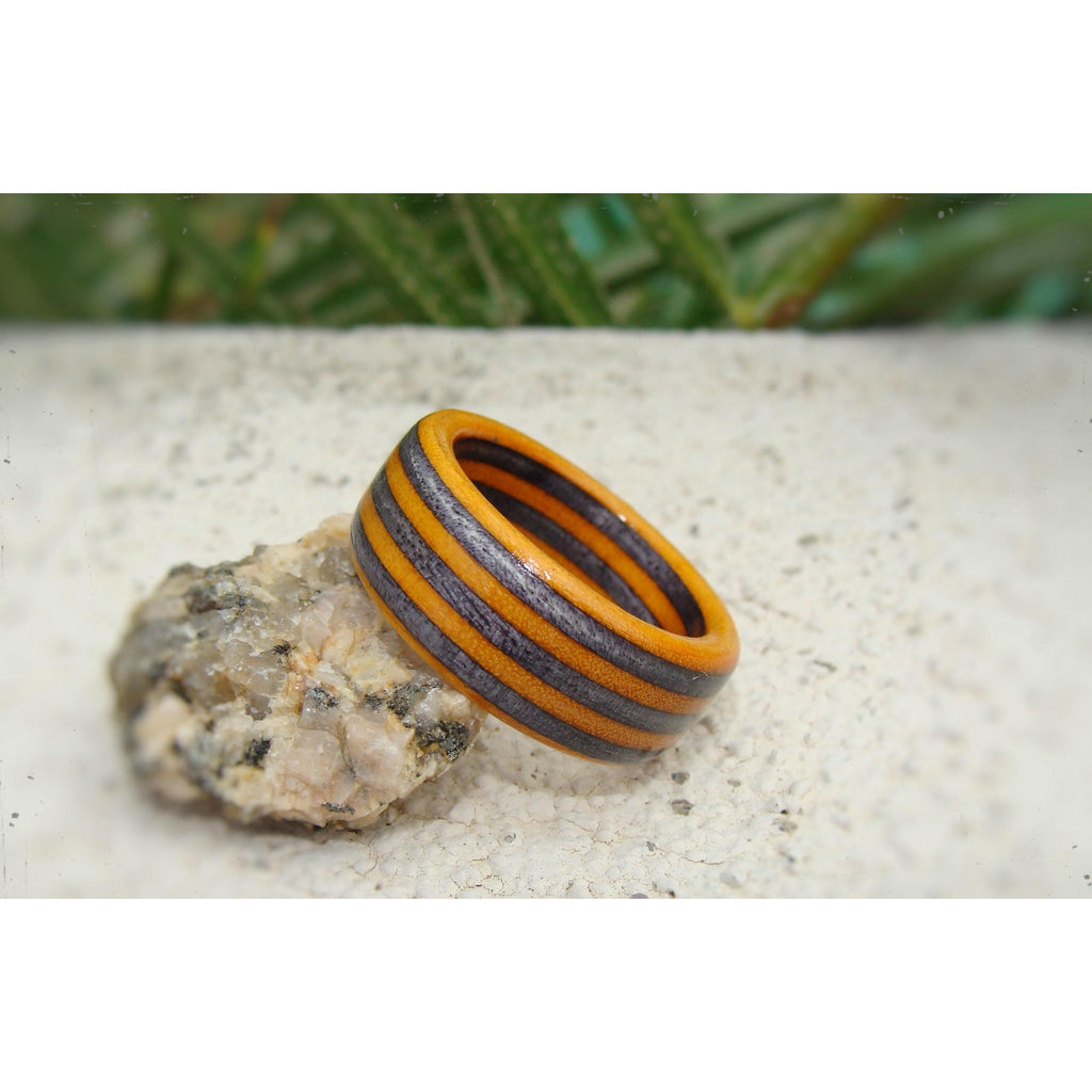 Spectraply Onyx Black Orange Wood Ring - Bentwood or Solid Wood - Art and Soule