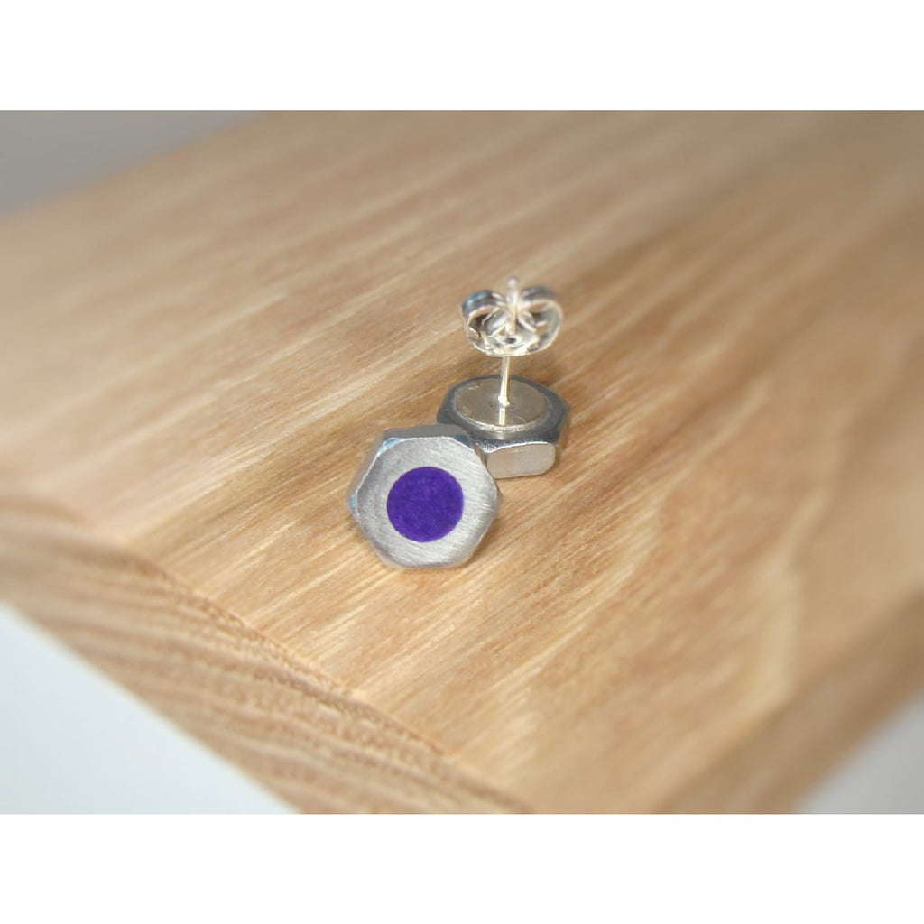 Violet Pearl Hex Nut Stud Earrings - Acrylic Inlay - Art and Soule