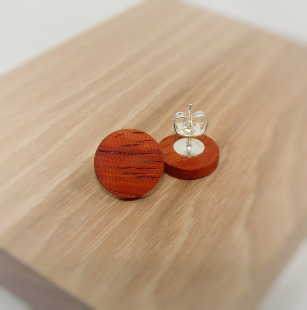 Padauk Wood Earrings - Stud or Dangle - Multiple Sizes - Art and Soule
