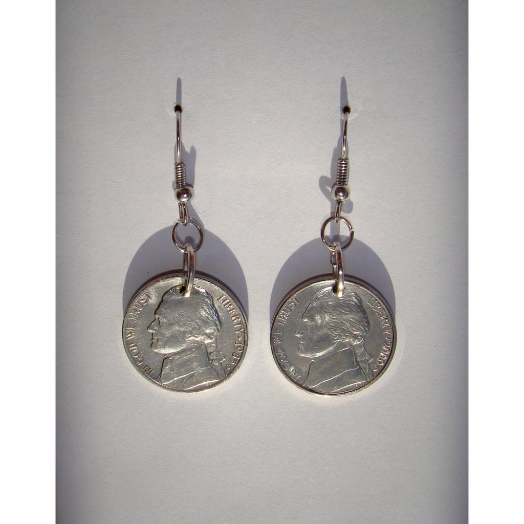 Nickel Dangle Earrings - Crafted From Real Nickels - Art and Soule