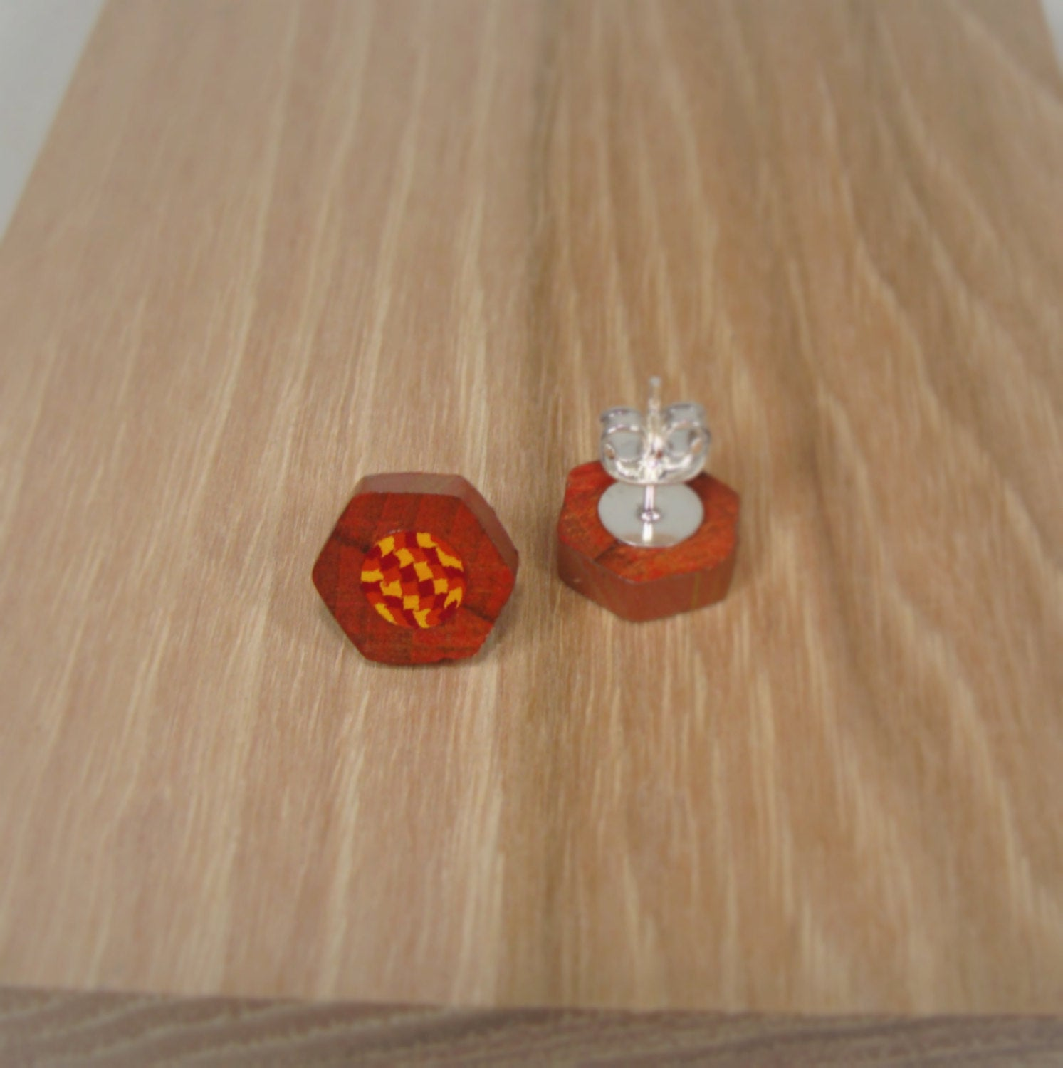 Colored Pencil Stud Earrings - Red Orange Yellow - Art and Soule