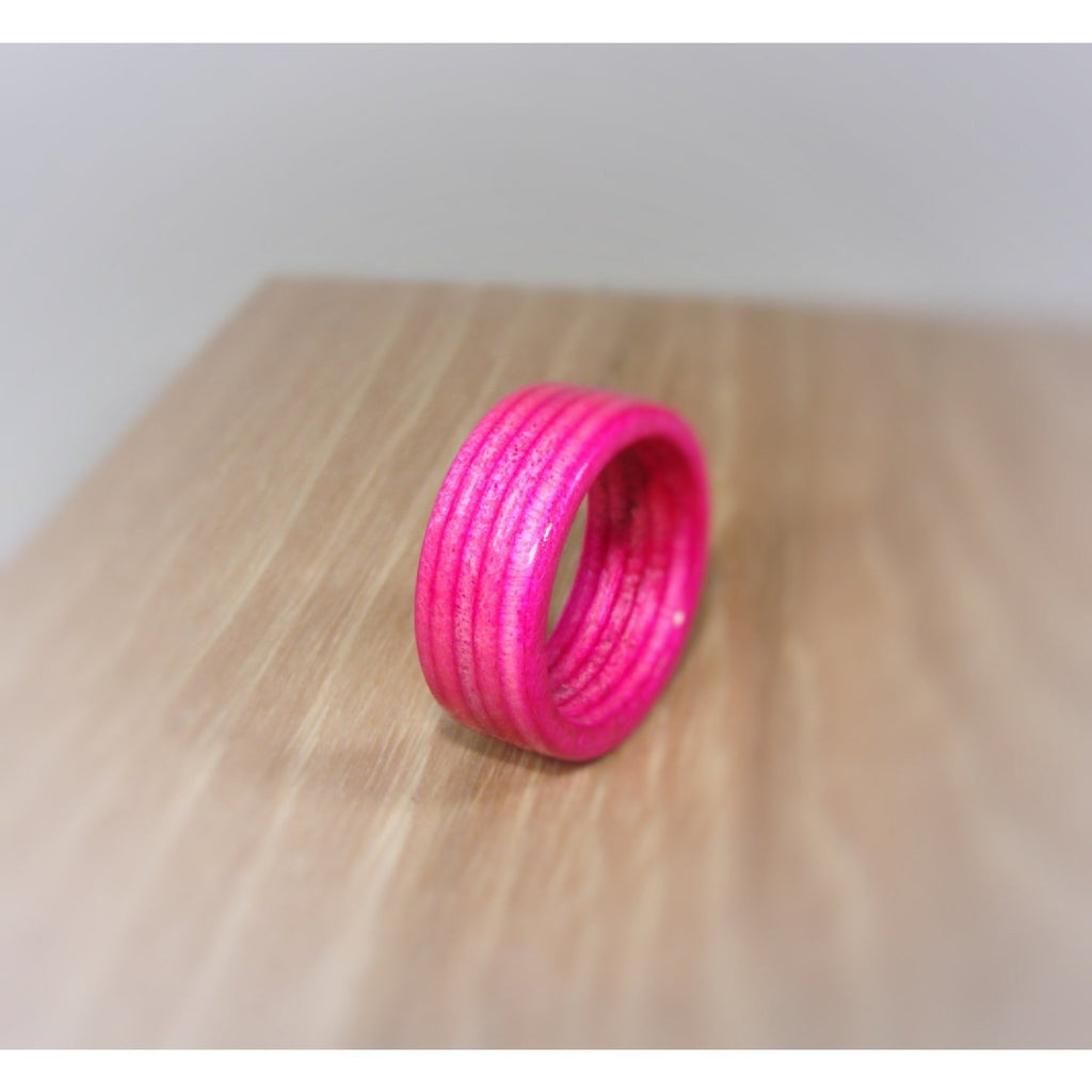 Spectraply Hot Pink Wood Ring - Bentwood or Solid Wood - Art and Soule