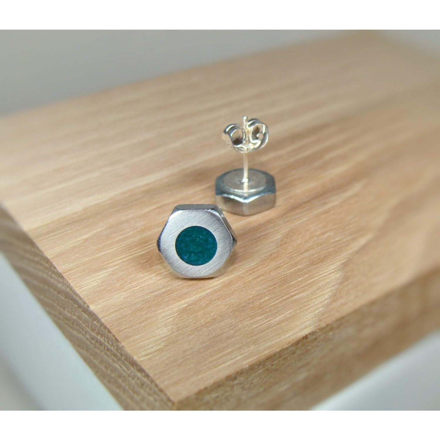Green Purple Pearl Hex Nut Stud Earrings - Acrylic Inlay - Art and Soule