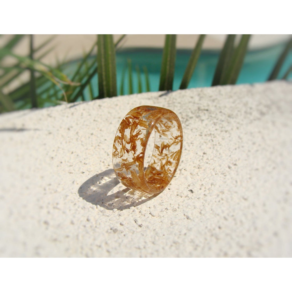 Jack Daniels Tennessee Whiskey Barrel Wood and Clear Resin Ring - Art and Soule