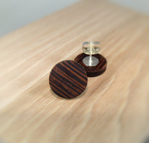 Wenge Wood Earrings - Stud or Dangle - Multiple Sizes - Art and Soule