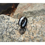Ebony Wood Ring with Ebony Shavings Set in White Acrylic Resin - Art and Soule