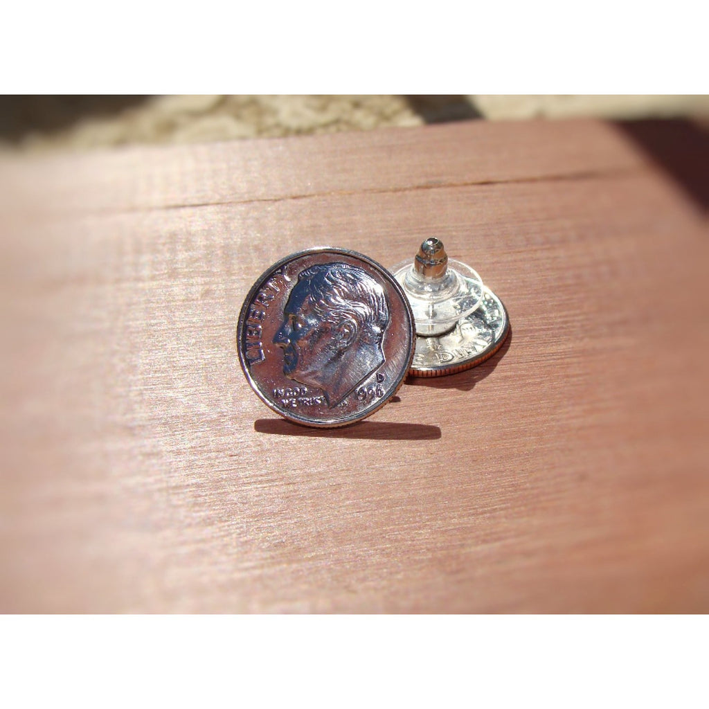 Dime Stud Earrings - Crafted From Real Dimes - Art and Soule