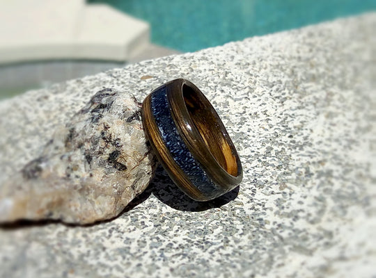 Charred Whiskey Barrel Bentwood Ring With Denim Blue Jean Inlay - Jack Daniels Tennessee Whiskey - Art and Soule