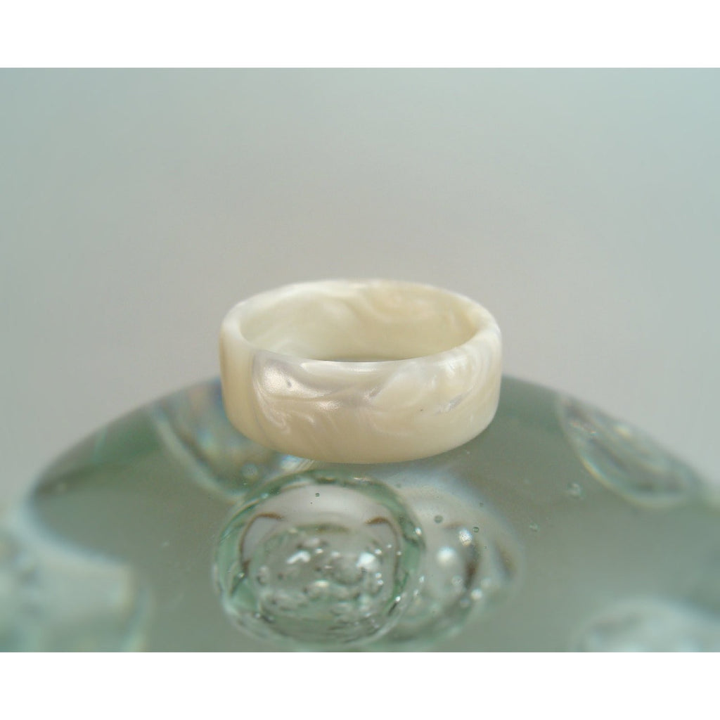 White Pearl Acrylic Resin Ring - Art and Soule