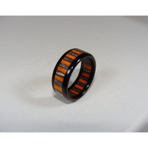 Ebony with Onyx Black Orange Spectraply Wood Ring - Art and Soule