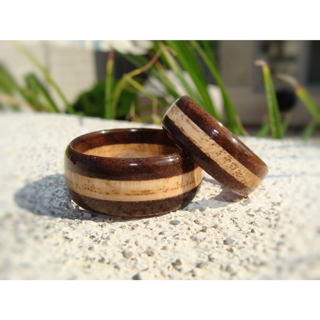 Walnut and Oak Solid Wood Ring Set - Art and Soule