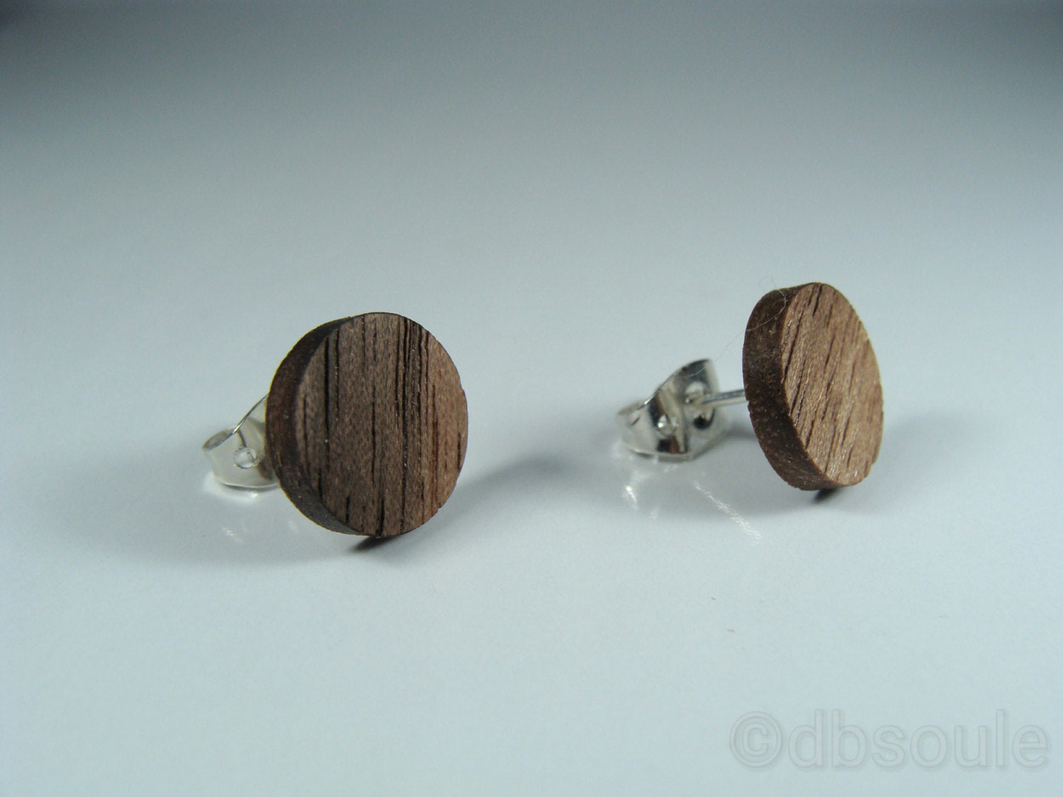 Walnut Wood Earrings - Stud or Dangle - Multiple Sizes - Art and Soule