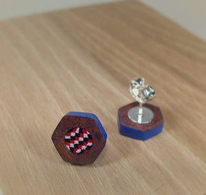 Colored Pencil Stud Earrings - Red White Blue - Art and Soule