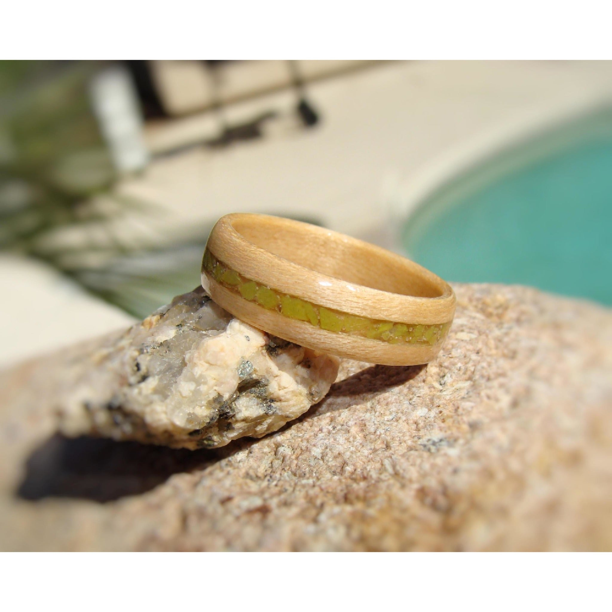Birch Bentwood Wood Ring With Madagascar Green Opal Inlay - Art and Soule