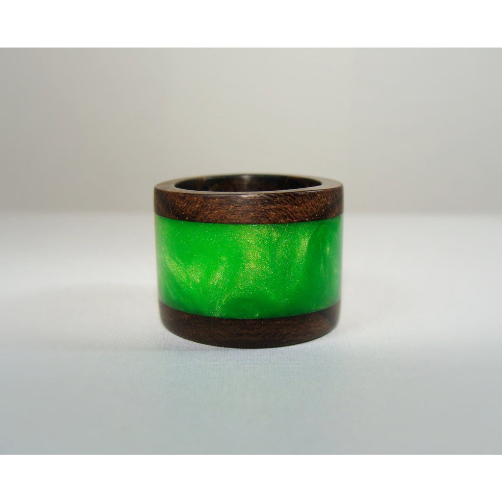 Ziricote Wood Ring Layered With Green Acrylic Resin - Art and Soule