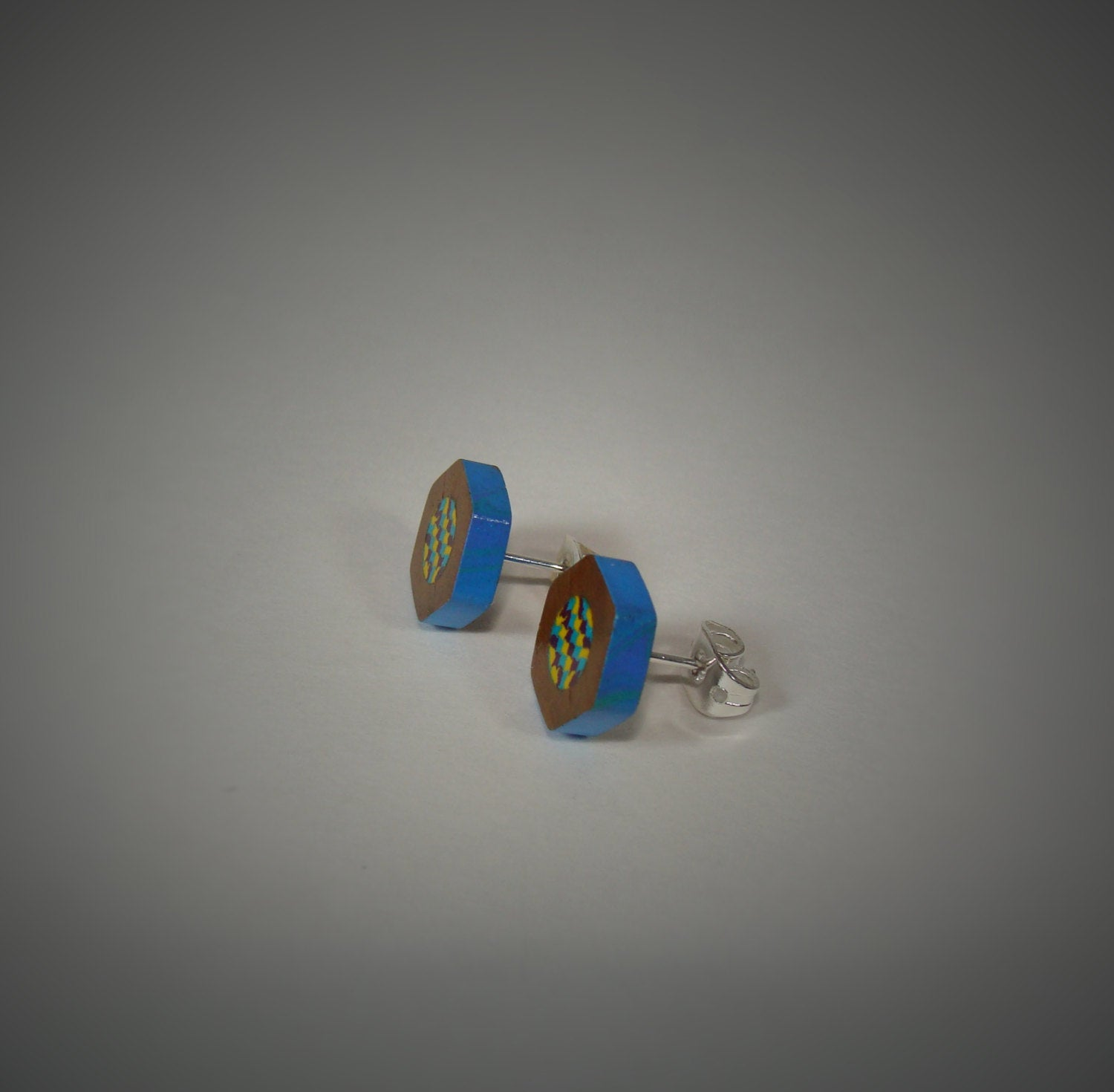 Colored Pencil Stud Earrings - Blue Maroon Yellow - Art and Soule