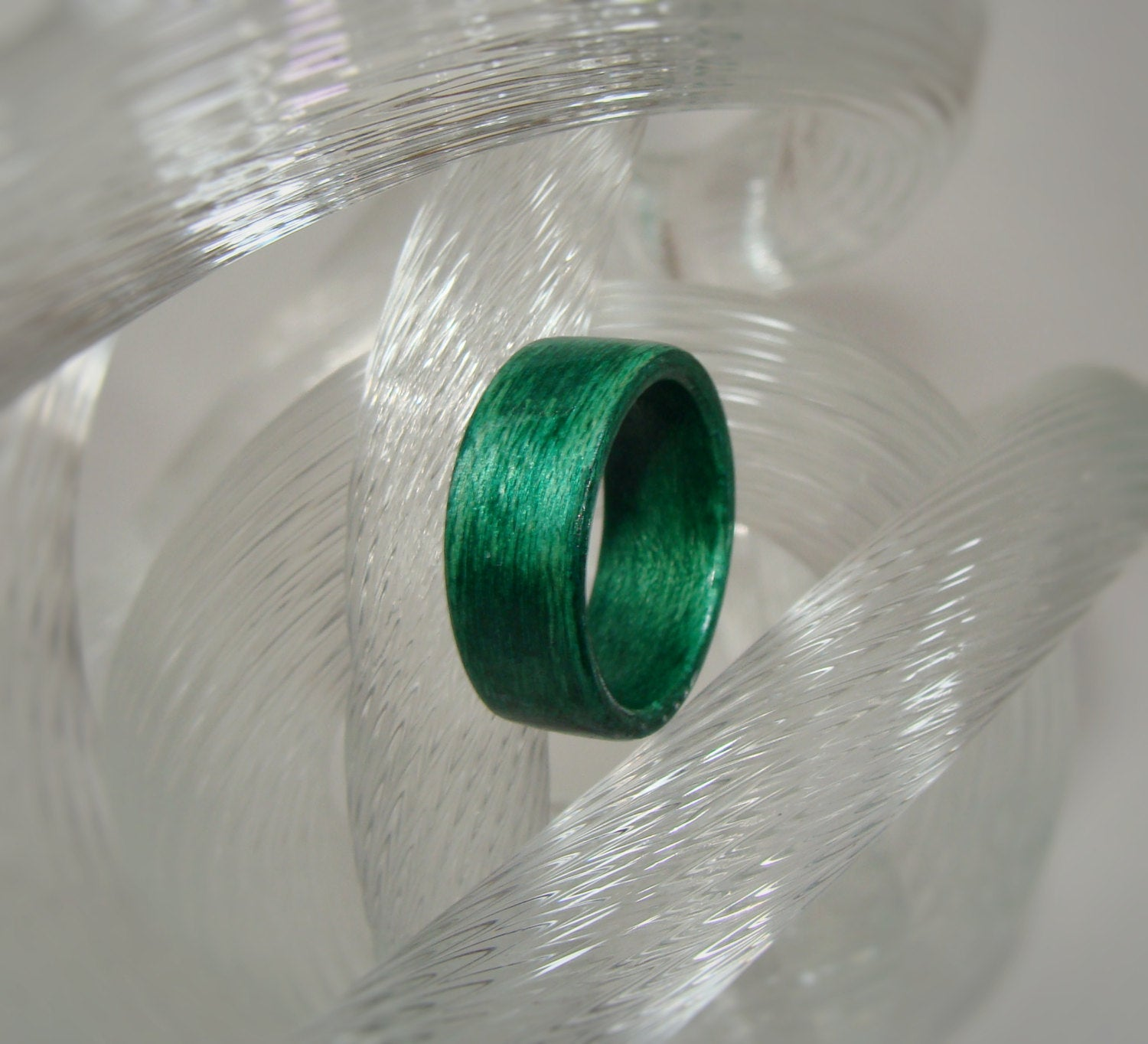 Dark Green Dyed Birch Bentwood Wood Ring - Art and Soule