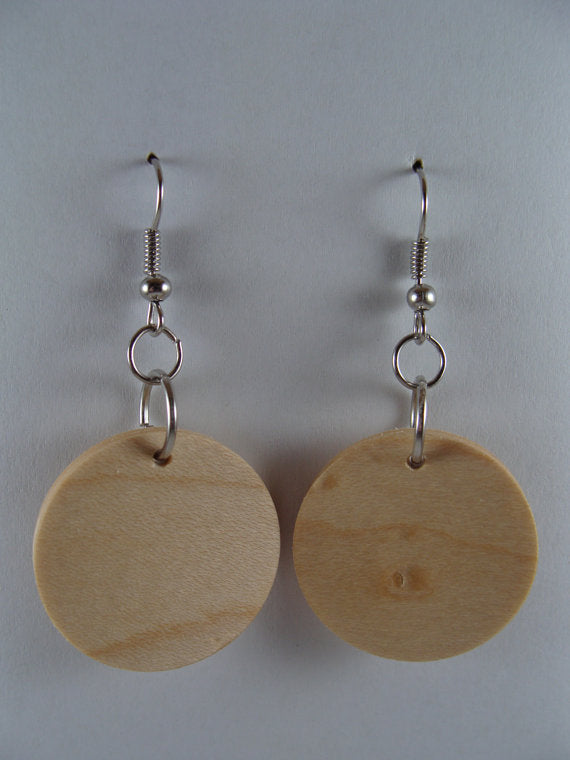 Maple Wood Earrings - Stud or Dangle - Multiple Sizes - Art and Soule