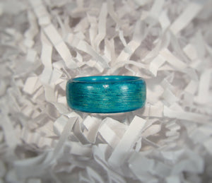 Sea Blue Dyed Birch Bentwood Wood Ring - Art and Soule