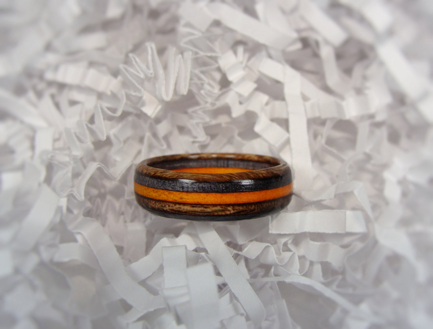 Spectraply Charcoal Brown Orange Wood Ring - Bentwood or Solid Wood - Art and Soule